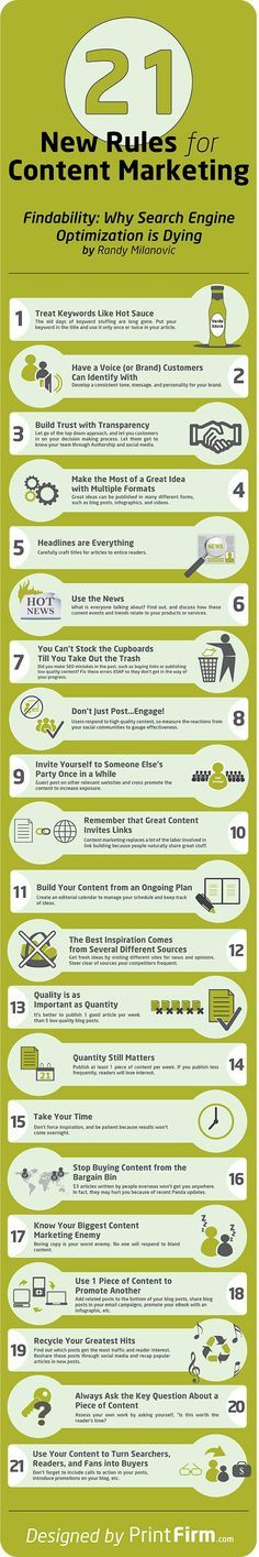 21 New Rules for #ContentMarketing #infographic (pin por @pablocoraje)