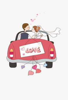 Cartoon wedding car PNG and Clipart Wedding Bible, Wedding Cards, Love Cartoon Couple, Wedding Car Decorations, Conversational Prints, Guest Book Tree, Flower Embroidery Designs, Wedding Background, Baby Quilts