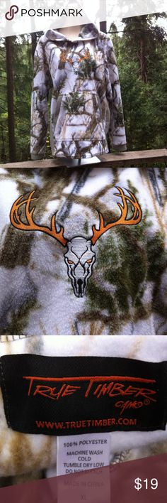 True Timber fleece pull over True Timber snow and tree print fleece, pull over, hoodie,kangaroo front pocket, embroidered skull with antlers emblem on front, bum covering length in back...a 'Kristens Find' posh on girlfriend;) True Timber Jackets & Coats Utility Jackets