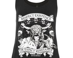 f8cba92e Woman's Vegan Tank Top Vest 'Respect Existence or Expect Resistance' By  Anticarnist Vegan Clothing