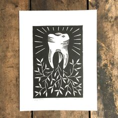 Deep Roots  Linoleum print of tooth on paper by TheDiggingestGirl