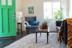 hi-fi hideaway — Madison Modern Home Strandmon Chair, Wood Floor Kitchen, Hardwood Floors, Flooring, Floor Finishes, Throw Rugs, Armchair, Living Room, Modern