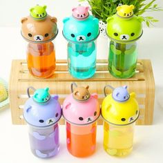 Material :pc+pp color:green purpal blue green brown pink yellow size: Your satisfaction is the aim of our services, if you are not satisfied with the goods within 10 days we are accept refund or exchange .wish you have a lovely day thank you ! Easy Diy Crafts, Diy Craft Projects, Images Kawaii, Cute Water Bottles, Cute School Supplies, Cute Cups, Cute Japanese, Japanese Cartoon, All Things Cute