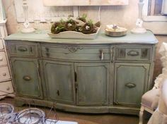 chalk paint- looks like Annie Sloan duck egg blue? Distressed Furniture Painting, Chalk Paint Furniture, Furniture Projects, Furniture Makeover, Diy Furniture, Furniture Refinishing, Colorful Furniture, Bathroom Furniture, Kitchen Furniture