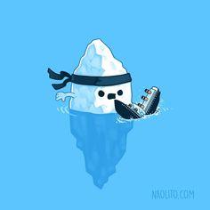 Critical Hit - my third iceberg + titanic design! Swipe to see the other two    My tercer diseño sobre el iceberg y el titanic! Desliza hacia la derecha para ver los otros dos    #titanic #iceberg #funny #kawaii #aww #awesome #lol #illustration #cuteness #cutenessoverload #loveit #indieartist #series #ice #cold #karate #boat #sink #hit #cute #artprint #print