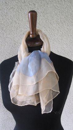 foulard in chiffon seta pura dipinta a mano con di ventodiscirocco, $83.00
