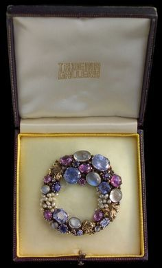 DORRIE NOSSITER Brooch Silver Gold Moonstone Sapphire Ruby Seed Pearl H: 5.3 cm (2.09 in) W: 5 cm (1.97 in) British c.1930