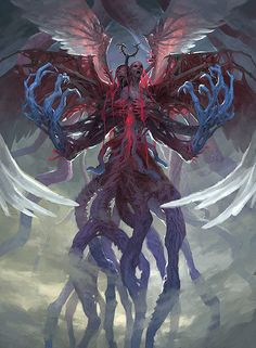 "For the Eldritch Moon set of Magic: The Gathering. The uber-baddy Emrakul has come to Innistrad and it's presence has mutated the legendary angels Bruna and Gisela into the new Eldrazi creature Brisela. While not a ""pretty"" picture this is one of my favorite recent images. It hits very close to what I had in mind though it did take a lot of time."