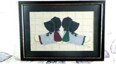 Vintage Amish Girls Counted Cross Stitch Picture Sunbonnet Sue