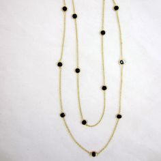 NECKLACE Pretty Smoky Blue Stones Delicate Gold Plated Chain Necklace
