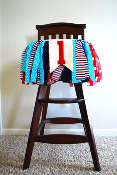 Nautical High Chair Rag Tie Fabric Bunting 1st by AudrianaPaper