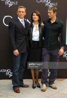 Daniel Craig, Caterina Murino, and Mads Mikkelsen during 'Casino Royale' Photocall - Madrid at Santo Mauro Hotel in Madrid, Spain.