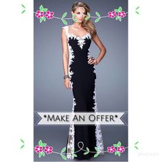 "La Femme 20895 black white lace prom This is a true show stopper! Black jersey formal dress with sweetheart neckline that is accented with contrasting white lace & small cap sleeves. Sides & back of dress are sheer ""illusion"" embellished with lace. I promise you, this dress has the WOW factor that will have jaws hitting the floor!...Only worn once/In excellent like new condition/Only altering was slight hemming for my 5'8"" daughter to wear with flats. Get this beauty before someone else…"