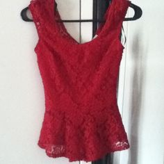 Lacey Red Top Never worn , and very beautiful Tops
