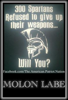 Molon Labe Never Give Up What's Your Right To Have To Protect and Serve Your Country Here In The United States