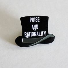 """Poise and Rationality Panic at the Disco Soft Enamel Lapel Pin 1.25"""" top hat"""