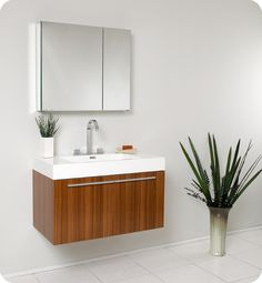 """35.5"""" Vista Single Vanity with Medicine Cabinet - Teak. Space and function all in one. $899.00"""