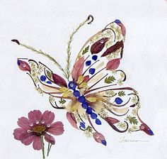 Elusive Butterfly with Cosmos- Fantasy Flower Art - 8 x 10 Fine Art Giclee Print - Pressed Flowers Dried And Pressed Flowers, Pressed Flower Art, Dried Flowers, Art Floral, Flower Artwork, Butterfly Flowers, Art Flowers, Leaf Art, Gras