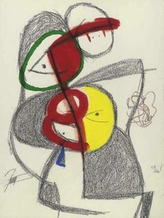 Joan Miró Femme oiseau. 8. XII, 1980 Gouache and charcoal on paper