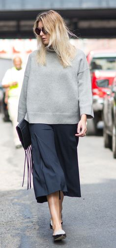 Cropped pants + grey (Camille Charriere NYFW SS15)