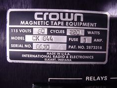 Reel to Reel Tape Recorder Manufacturers - Crown Audio, Inc. - Museum of Magnetic Sound Recording Crown Audio, Magnetic Tape, Professional Audio, Tape Recorder, Museum, Museums