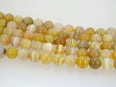 Yellow Botswana agate beads. 8mm round beads. Natural agate beads. Boho chic jewelry supply by Susiesgem on Etsy