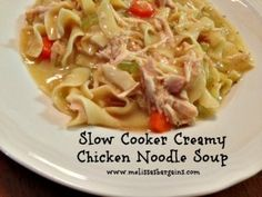 SLOW COOKER CREAMY CHICKEN NOODLE SOUP ~ Used 1 TBL dried onions, tsp garlic powder, 1 tsp parsley, tsp salt/pepper. Super yum, B loved. Will try to figure out how to make without using canned cream of chx soup. Going in the winter rotation! Slow Cooker Creamy Chicken, Crock Pot Slow Cooker, Crock Pot Cooking, Slow Cooker Recipes, Crockpot Recipes, Soup Recipes, Great Recipes, Chicken Recipes, Cooking Recipes