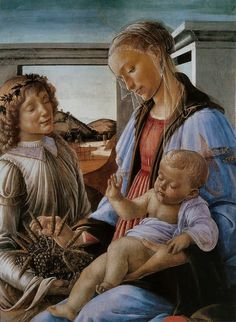 Botticelli - Madone de l'Eucharistie Virgin and Child with an Angel also known as Our Lady of the Eucharist (Italian: Madonna dell'Eucarestia) is a tempera on wood panel painting by Sandro Botticelli made c.1470.