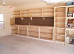 39 Ideas Storage Shed Organization Ideas Shelves Garage Doors - DIY Home Decor Storage Shed Organization, Garage Organisation, Garage Storage Shelves, Workshop Storage, Garage Shelf, Garage Cabinets Diy, Storage Ideas, Diy Garage Work Bench, Organized Garage