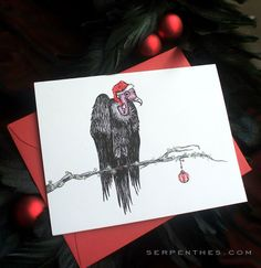 Viktor Vulture glittered holiday card by serpentes on Etsy, $25.00