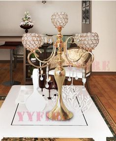 1PCS/lot Luxury Gold Color Living Room Decoration 5 Arm Tuilp Candelabra Hollow Iron Artistic Retro Candle Holder Wedding Props