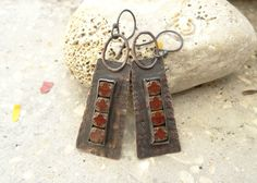 Long Textured Copper Earrings with Mini Czech Silkies by annamei