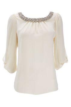 Stone Embellished Bow Sleeve Top - Occasionwear  - Clothing