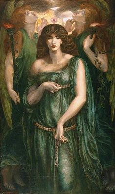 """model Jane Morris  38-y-o : """"Astarte Syriaca"""" 1877 , by Dante Gabriel Rossetti ; 185x109 cm , Manchester Art Gallery , Manchester , England .  May Morris 15-y-o , second daughter of Jane Morris, was the model for the left attendant"""