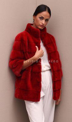 Female Mink Fur Jacket with Round collar