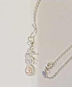 "SALE Happy New Years Day SILVER Elegant Seahorse Pink Pearl Charm Necklace Jewelry  925 Silver 18"" Silver Chain - pinned by pin4etsy.com"