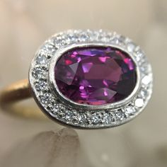 Very rare violet #sapphire #platinum, #gold and #diamond #engagement #ring. #showmeyourrings