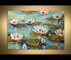 Acrylic and Oil Water Lilies Painting on canvas by Artcoast