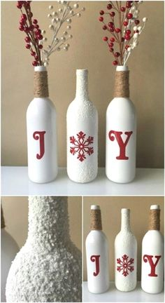 20 festively easy wine bottle crafts for holiday home decorating diy crafts diycraftshome - Christmas Bottle Decorations