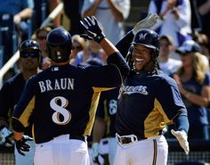 "If I read minds they're saying, ""HEY GIRL HEY!""- Ryan Braun and Rickie Weeks. Milwaukee Brewers."