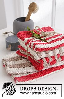 DROPS Christmas: Knitted DROPS cloths with stripes and textured pattern in Paris. Free knitting pattern by DROPS Design. Dishcloth Knitting Patterns, Crochet Dishcloths, Loom Knitting, Free Knitting, Crochet Patterns, Drops Design, Crochet Home, Knit Or Crochet, Knitting Projects