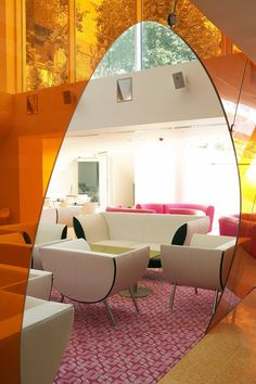 Hotel Lounge Semiramis In Athens    Bold colours add drama to a large, light-filled space.