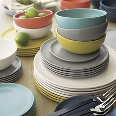 Roscoe Dinnerware | Crate and Barrel --Really beautiful dinnerware. I hope they end up putting a finish on the bottom to avoid its scratching issue.--aw--