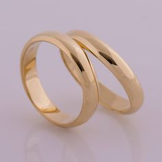 His And Hers Rings, Wedding Rings, 18K Yellow Gold Rings, Men Rings, Women Rings, Domed Band, Plain Wedding Band, Rounded, Solid, Classic