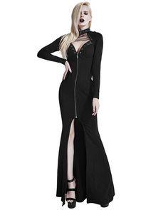 Punk Rave Calantha Maxi Dress Long Black Gothic Witch Occult Dieselpunk Jacket   eBay
