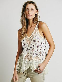 Bell Trapeze Cami Print | Printed crinkly gauze trapeze cut cami with a romantic lace racerback, hem, and neckline. Racerback.