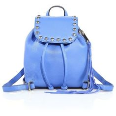 Rebecca Minkoff Micro Studded Leather Backpack (5.754.680 VND) ❤ liked on Polyvore featuring bags, backpacks, apparel & accessories, denim blue, leather rucksack, real leather backpack, backpacks bags, blue leather bag and leather daypack