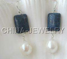 Beautiful-natural-Lapis-Lazuli-white-FW-pearl-earring-925-silver-hook
