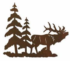"""8"""" Elk and Pine Trees Metal Wall Art"""