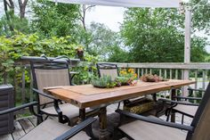A favorite project was making this table in her verdant outdoor space.